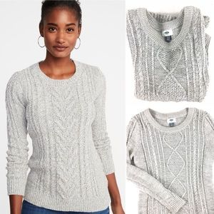 Old Navy- Chunky Cable Knit Sweater Gray Classic